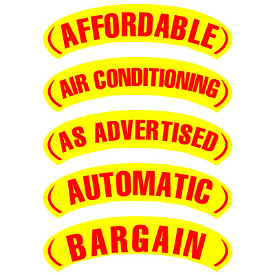 Red & Yellow Arch Slogan Stickers
